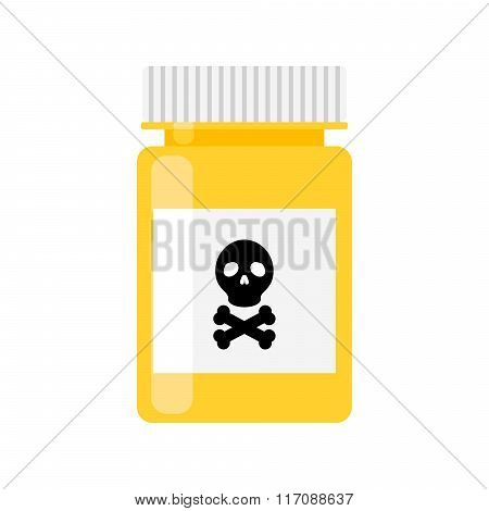 Poison pharmacy bottle vector icon.