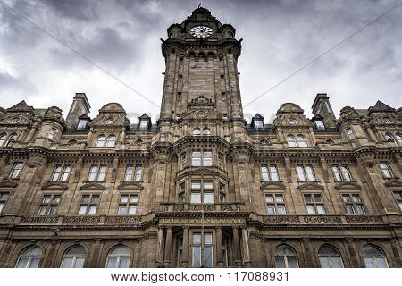 View of the Balmoral Hotel facade in Edinburgh, Scotland
