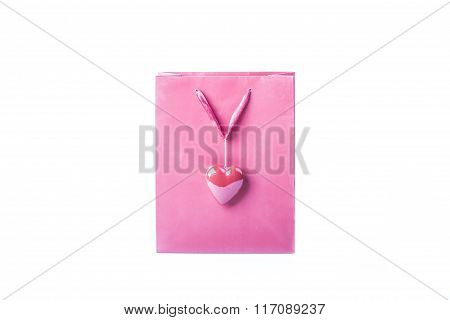 Pink Love Bag With A Beautiful Heart For Valentine's Day