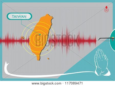 Earthquake in Taiwan concept. Editable Clip Art.
