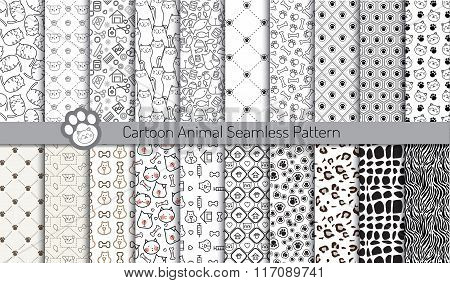 Cartoon Animal Seamless Patterns,pattern Swatches Included For Illustrator User, Pattern Swatches In