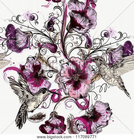 Seamless Background With Flowers And Hummingbirds In Watercolor Style