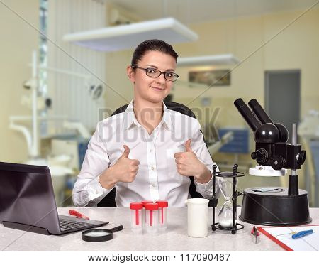 Scientific Researcher Showing Thumb Up