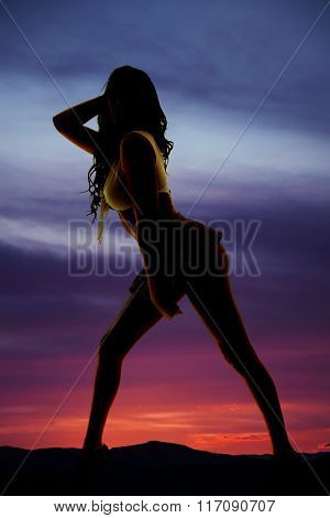 Silhouette Of Woman In Short Skirt Side Butt Ou
