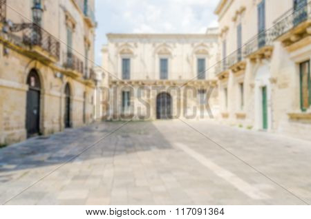 Defocused Background Of A Small Baroque Square In Central Lecce