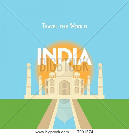 Flat style travel poster - India theme, showing the Taj Mahal with the sun behind. EPS10 vector format