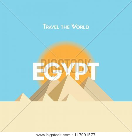 Flat style travel poster on Egyptian theme, showing pyramids, sunshine and sand. EPS10 vector format