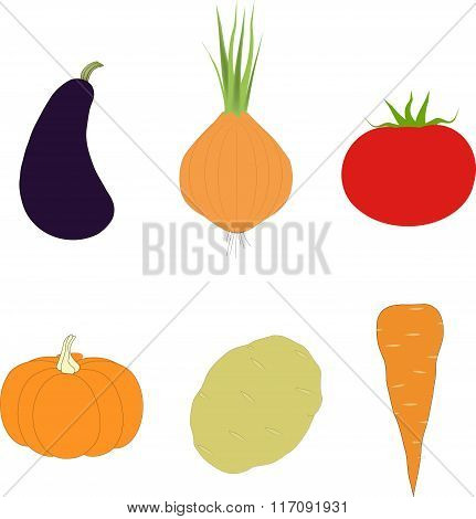 The vegetable set. Purple eggplant, orange pumpkin, carrot, onion, potato, red tomato on a white