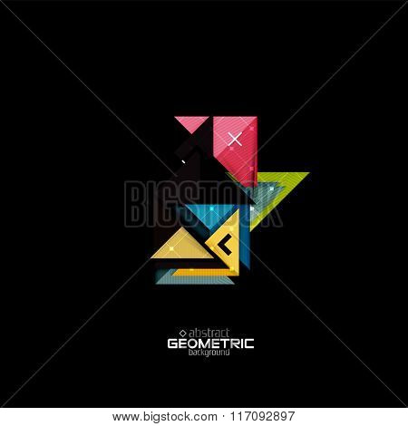 Colorful geometric shapes with texture on black. Modern futuristic abstract design template