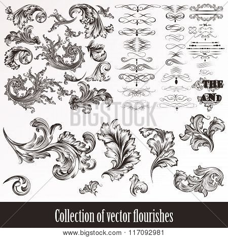 Collection Of Vector Hand Drawn Flourishes In Engraved Style. Mega Set