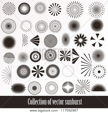 Vector Collection Of Retro Sunbursts For Design