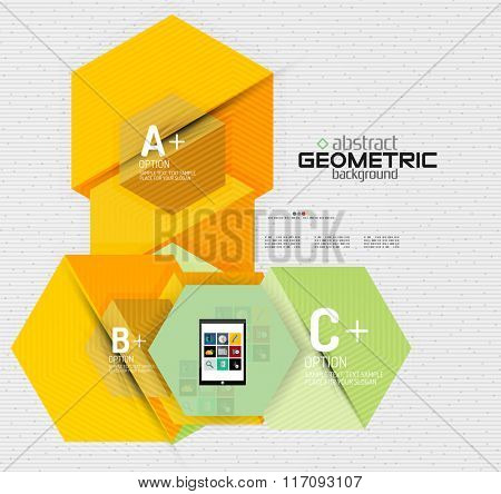 Abstract info banner with options, geometric paper style