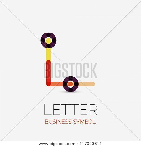 Minimalistic linear business icon, logo, made of multicolored line segments. Universal symbol for any concept or idea. Futuristic hi-tech, technology element