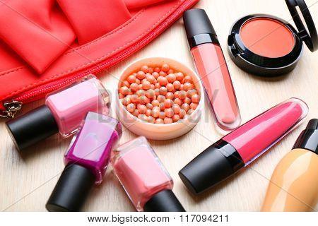 Set of decorative cosmetics, closeup