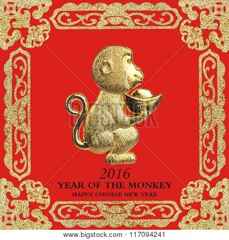2016 is year of the monkey,Gold monkey,Chinese calligraphy Translation: good bless for new year.