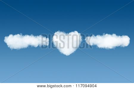 clouds and heart name template on blue sky background
