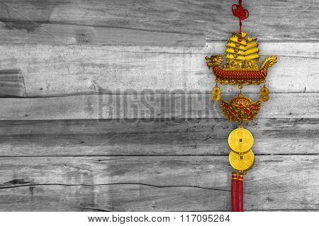Talismans In China Town On The Wooden Floor. Talismans Is Important Thing For Spirit Chinese People.