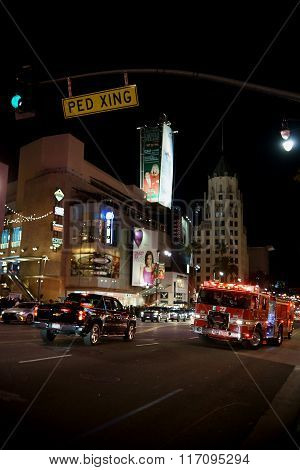 Fire services on Hollywood Boulevard