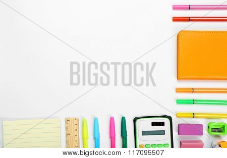 Back to school concept. Frame of colourful concept isolated on white background