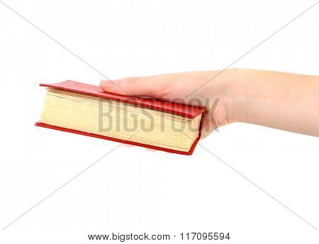 Female hand holding book, isolated on white