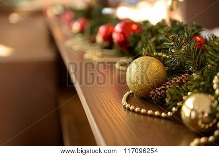 Christmas decorations on wooden desk closeup