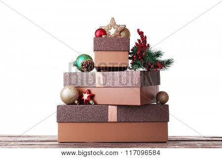 Christmas gift boxes, isolated on white