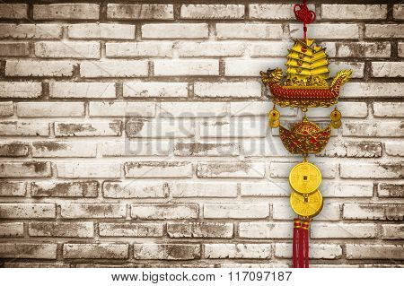 Talismans In China Town On The  Brick Wall Texture Background . Talismans Is Important Thing For Spi