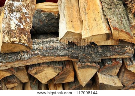 Pile of firewood closeup