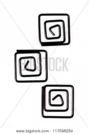 Collection of black spiral shaped paper clips, isolated on white