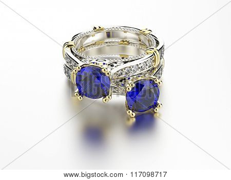 Wedding ring with diamond. Sign of love. Fashion jewelry. Sapphire