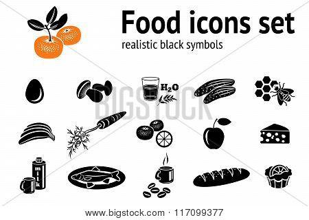 Food icons set. Fish, cake, mushrooms, honey, coffee, mandarin, cucumber, egg, milk, cheese, carrot,