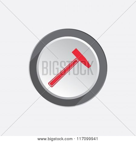Hammer icon. Repair tool symbol. Red sign on round three-dimensional white-gray button. Vector