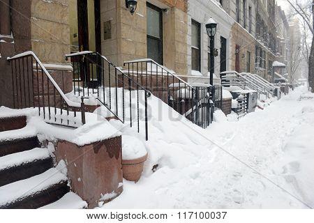 Manhattan New York after Winter Blizzard