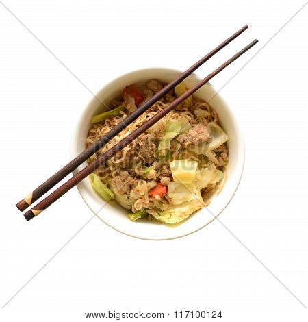 Top View Of Chinese Instant Noodle In Bowl.