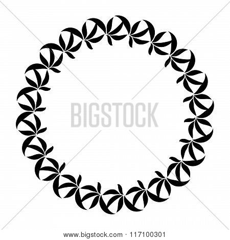 Laurel wreath circle tattoo icon. Black stylized ornaments, signs on white background.  Victory, pea