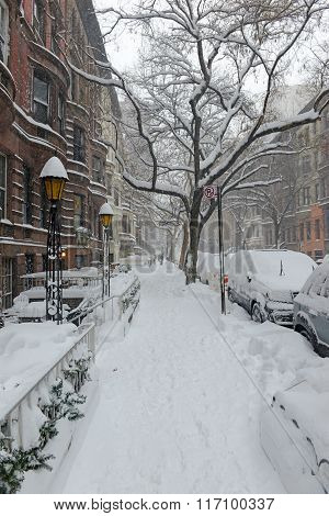 Streets in New York City after blizzard