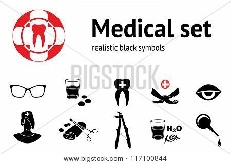 Medical set. 11 symbols of health and medicine. Black silhouettes. Vector