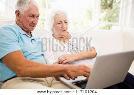 Focused senior couple using laptop at home