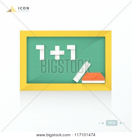 Blank Green Chalkboard Origami Icon Design
