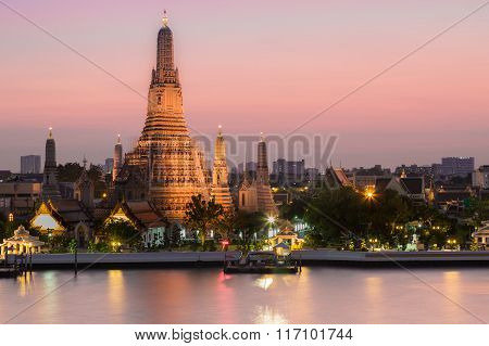Temple of dawn called Arun temple,  The most famous Thailand tourist destination.