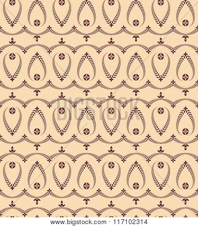 Religion seamless pattern. Laurel wreath, lace view texture with cross. Ceremonial background. Vinou