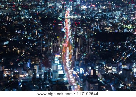 Abstract blurred bokeh background aerial view city road night view