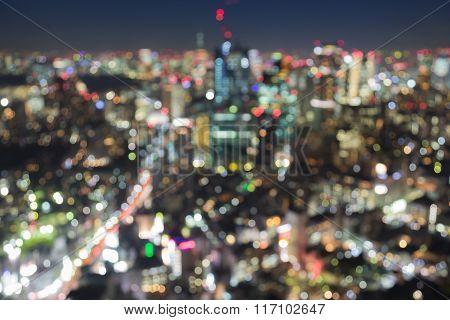 Abstract blurred bokeh background aerial view city business area