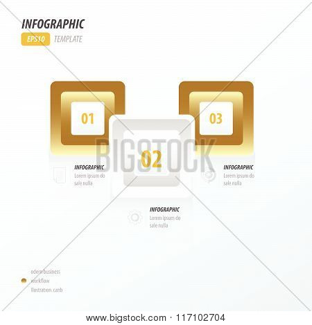 Infographics Four Rounded Rectangle Golden Style