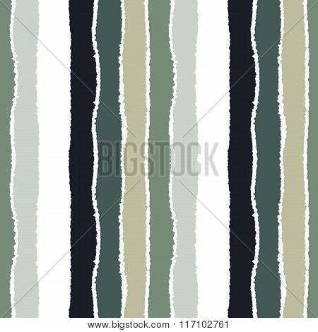 Striped seamless pattern. Vertical wide lines with torn paper effect. Shred edge band background. Gr