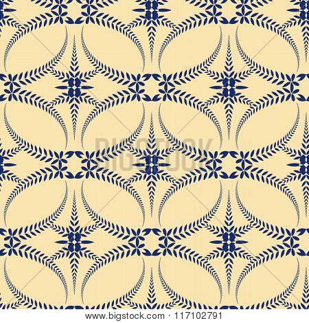 Religion seamless pattern. Laurel wreath, lace view texture with cross. Ceremonial background. Blue,