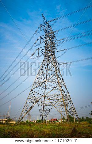 Silhouette electric pole