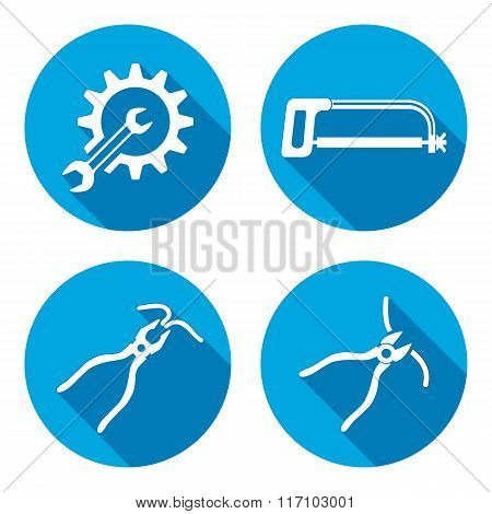 Tools icons set. Saw pliers tongs, cogwheel, wrench key. Repair fix symbols. Round blue signs with l