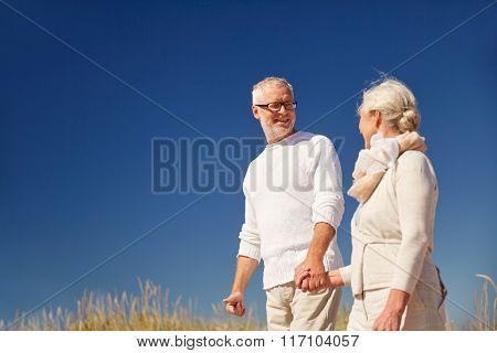 happy senior couple talking outdoors