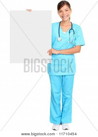 Medical Nurse Showing Blank Sign